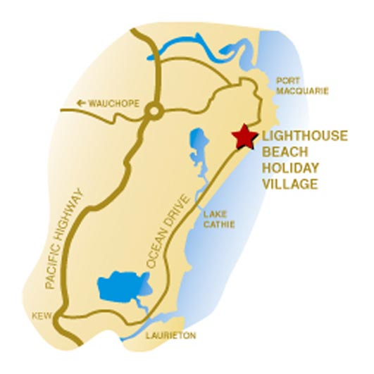 Location map for Lighthouse Beach Holiday Village