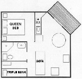 Triple Bunk Room Beach Bungalow Floor Plan