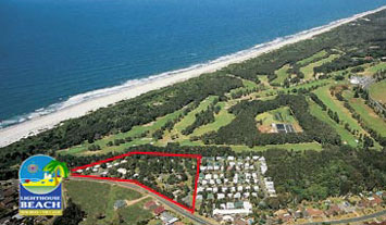 Lighthouse beach Holiday Village at Port Macquarie from the air